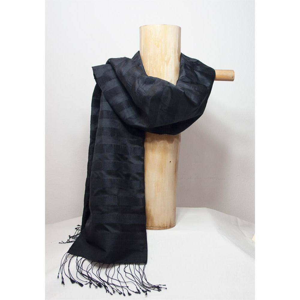 Foulard en pure soie du Laos / Collection Aquarelle / noir et bronze