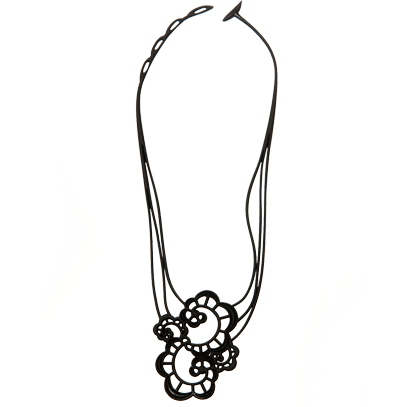 "Collier Batucada ""Japanese Flower"" - Gum naturelle noire - Vegan"