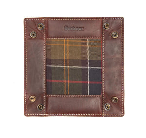 Barbour Tartan & Leather Valet Tray In Gift Box