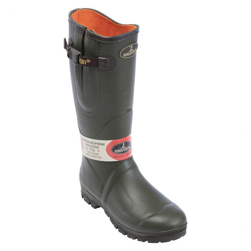 Percussion wellington boot with neoprene lining