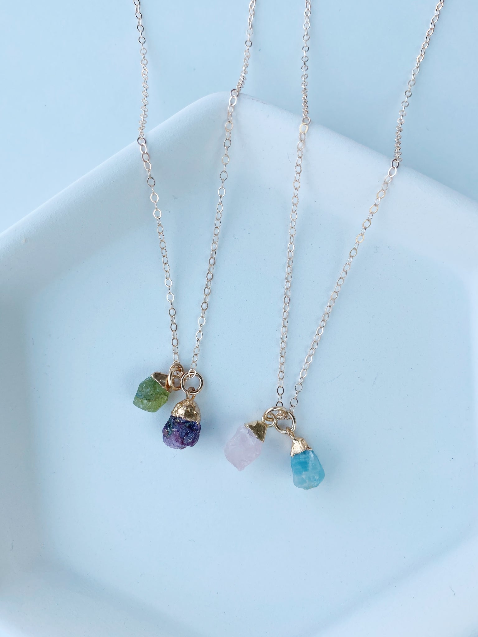 Double Rough Birthstone Necklace