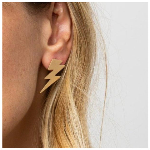 Brass Small Thunderbolt Earrings
