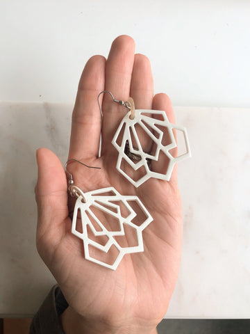 Horn Deco Earrings - Ivory