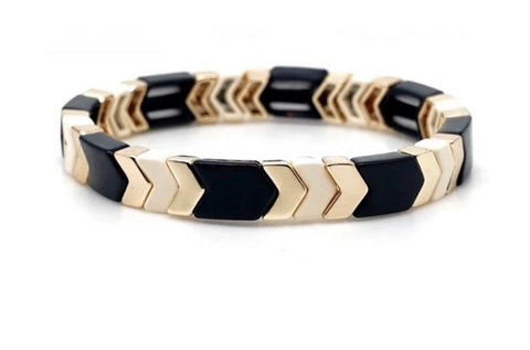 Black Cream and Gold Stretch Bracelet