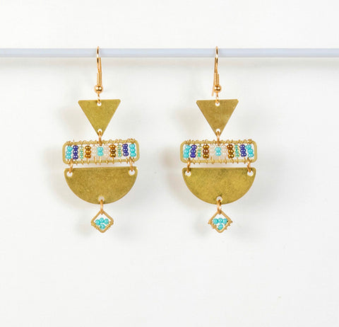 Geometric Beaded Brass Earrings