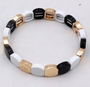 Black, White and Gold Stretch Bracelet