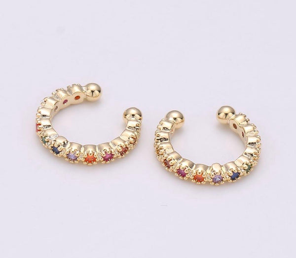 Rainbow Crystal Beaded Ear Cuff