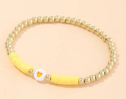 Yellow and Gold Stretch Bracelet