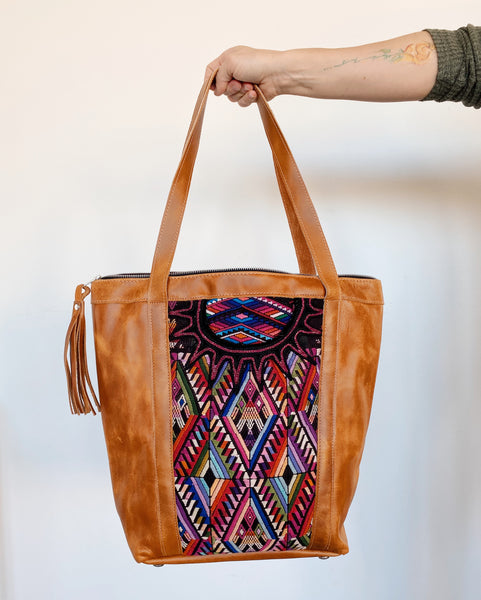 Leather & Huipil Tote