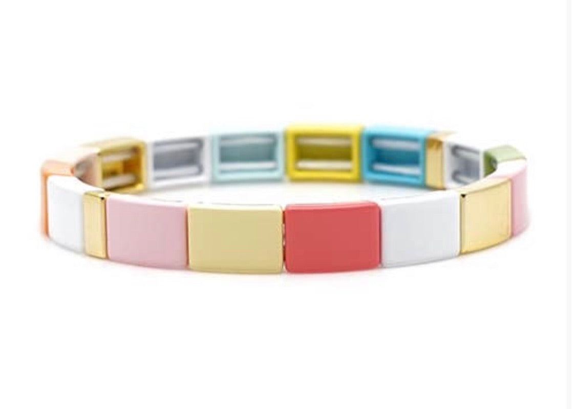 Candy Rainbow Stretch Enamel Bracelet