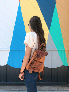 Leather Backpack with Tassel
