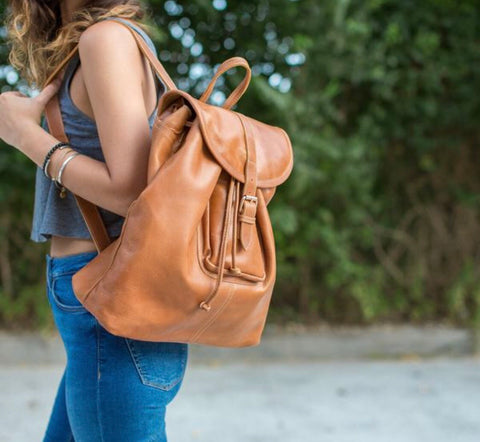 Leather Backpack - Caramel