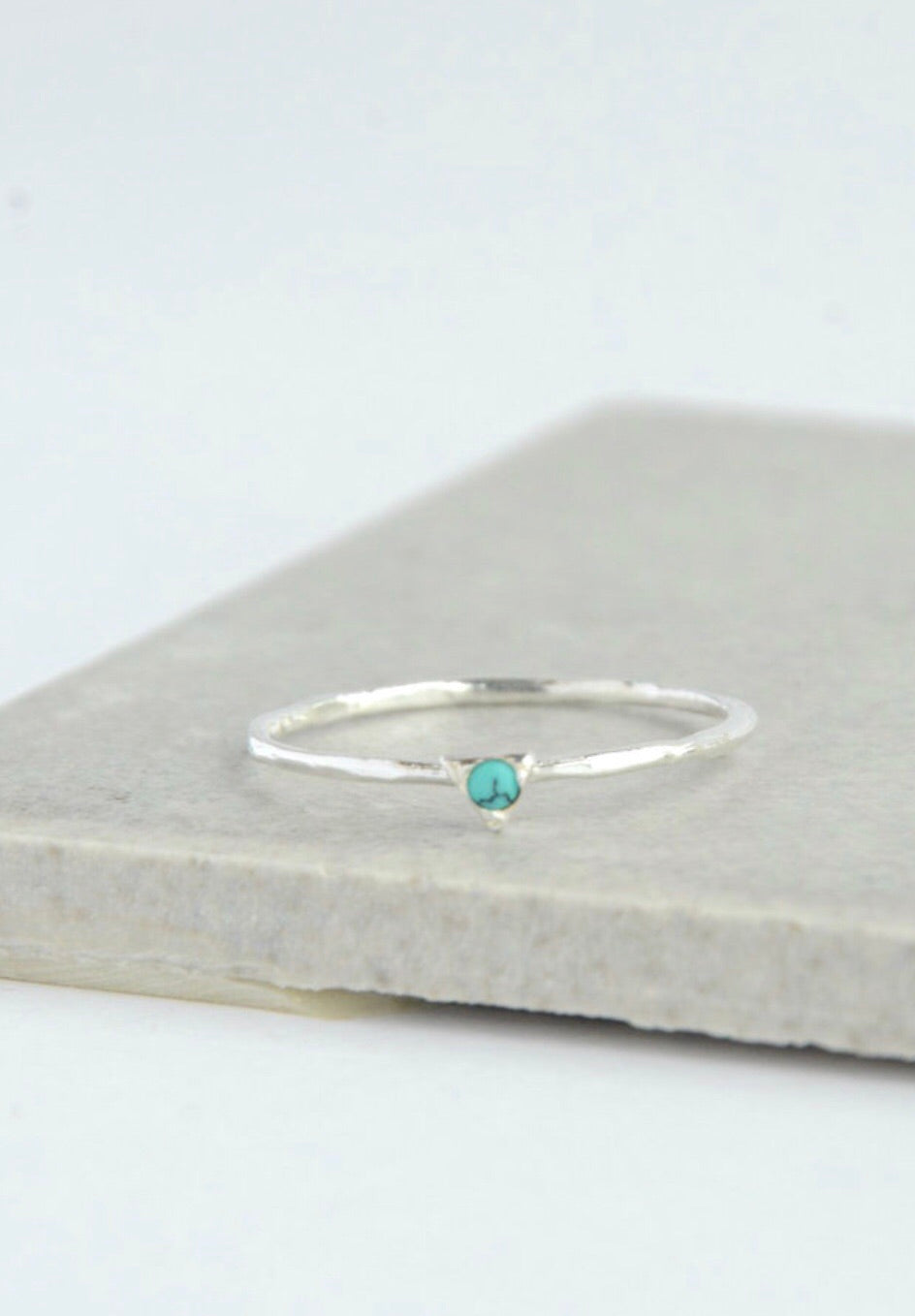 Tiny Triangle Sterling Ring - Turquoise