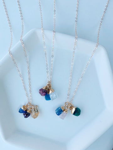 Triple Rough Birthstone Necklace
