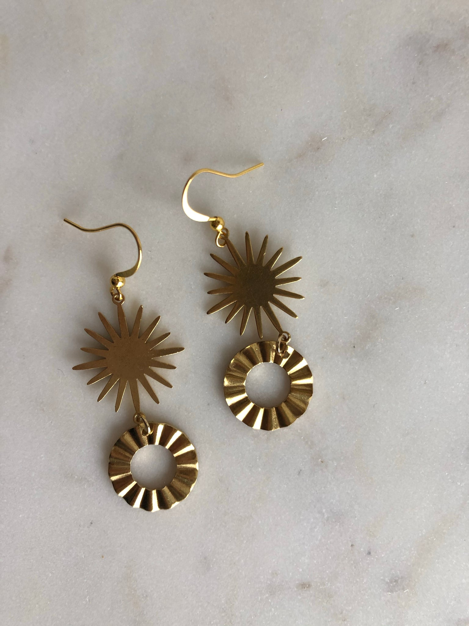 Starburst Brass Earrings