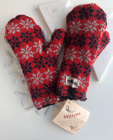Minnesota Wool Mittens-Red, Navy, and Grey