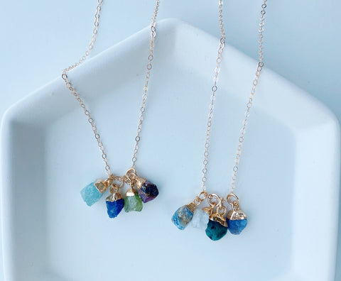 Quadruple Rough Birthstone Necklace