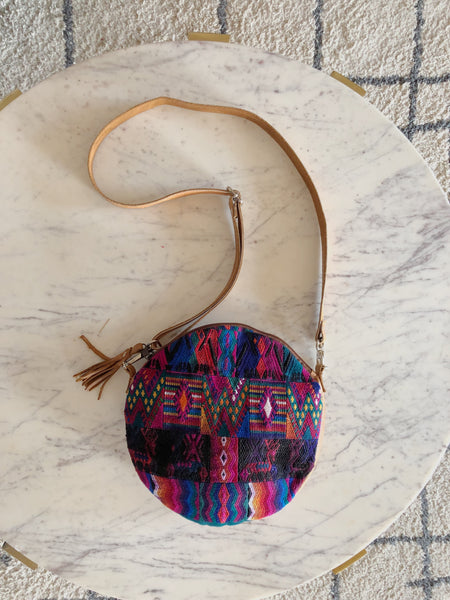 Round Crossbody Bag with Huipil and Leather