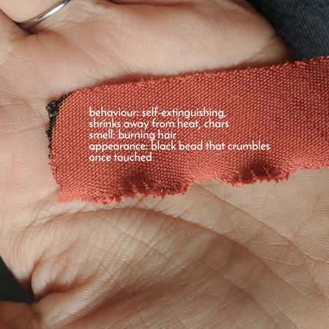 Matchpoint Fabric – Burn Test on Silk