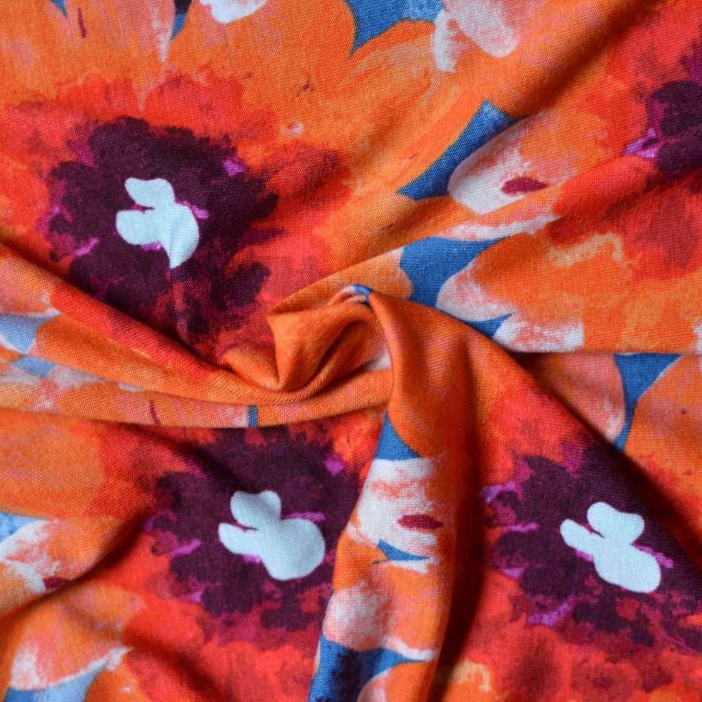 Large-Scale Floral  – Rayon/Spandex Knit – 1/2 yard