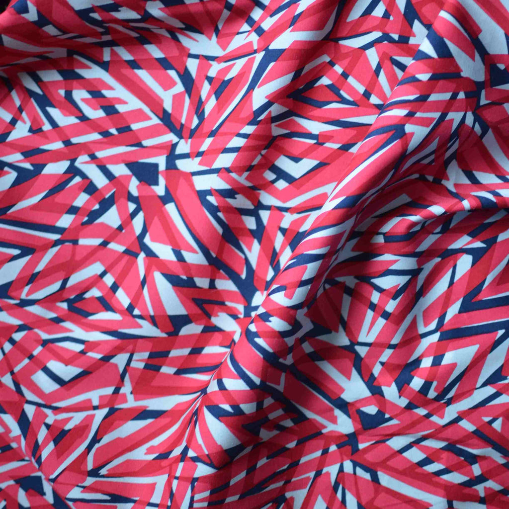 Coral Geometric Cotton Shirting – 1/2 yard