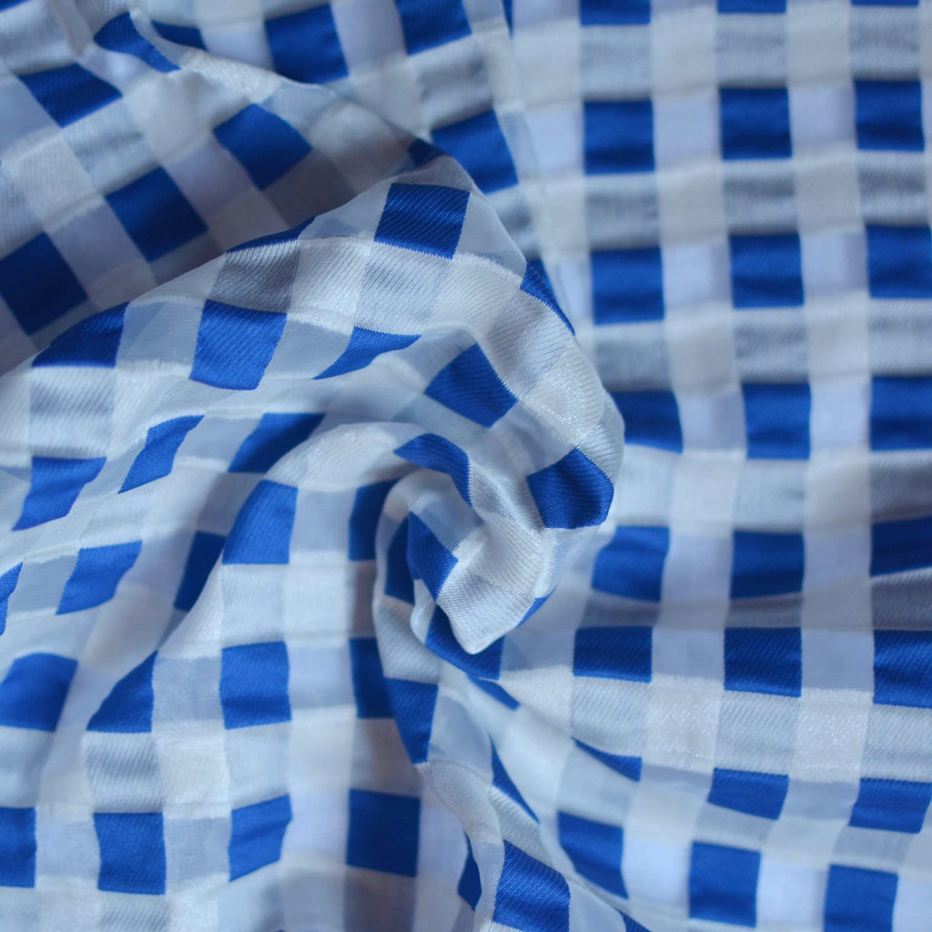 Italian Blue & Cream Gingham Organza – 1/2 yard