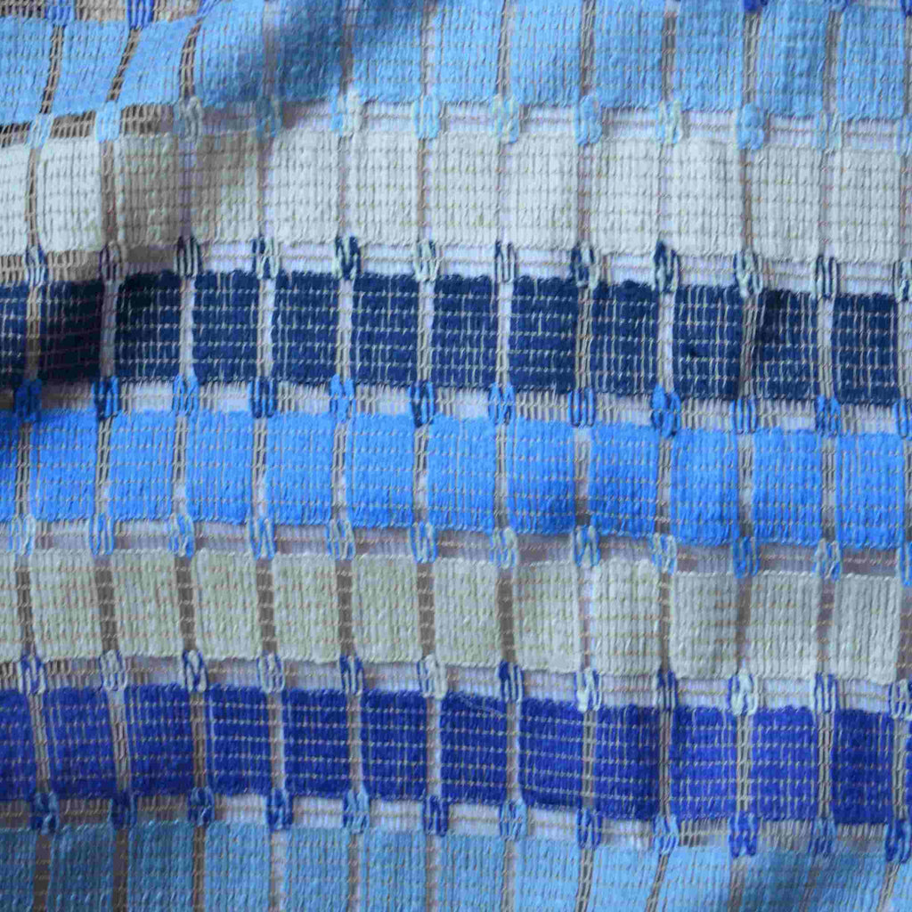Blues & Tan Italian Open Weave Cotton – 1/2 yard