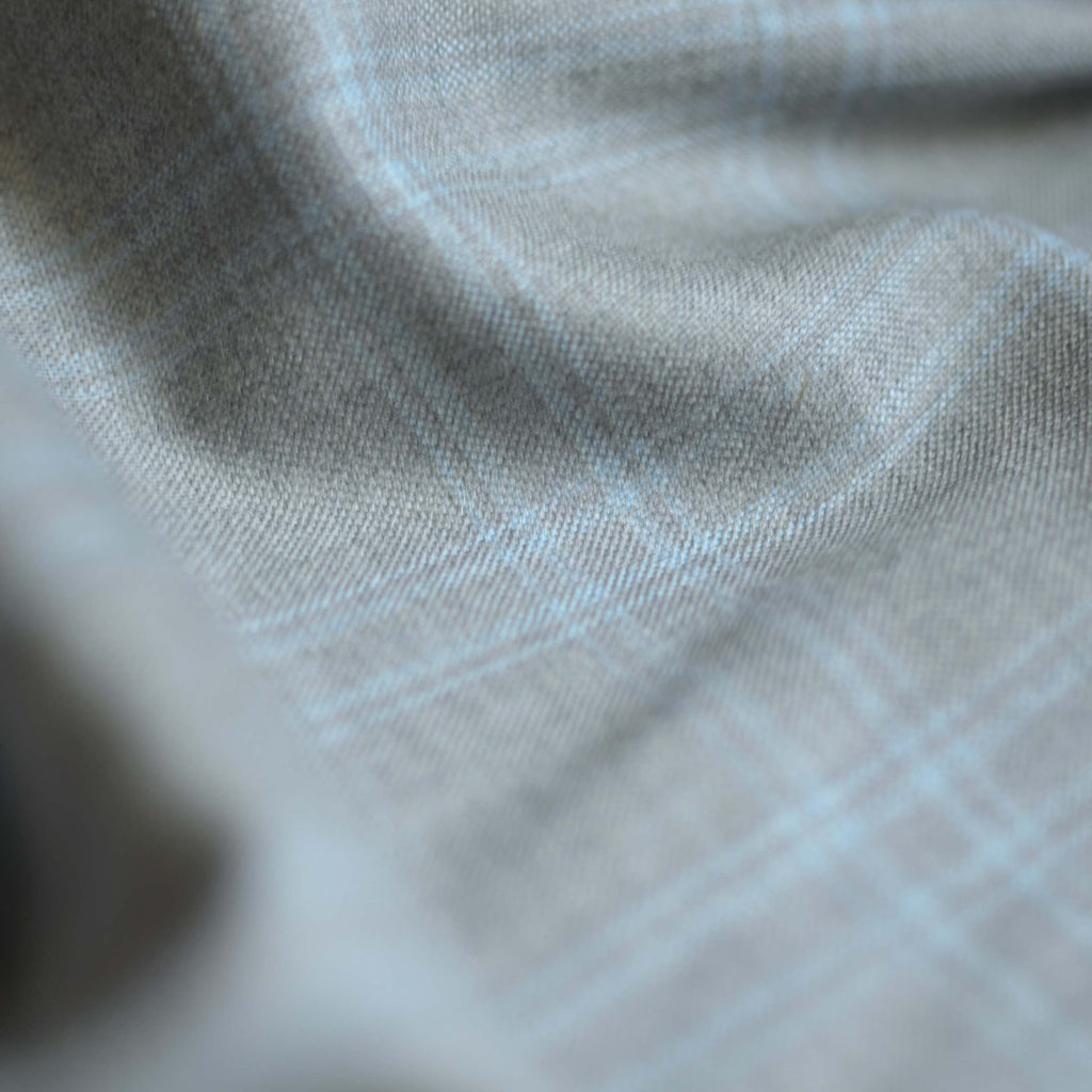 Grey & Blue Check Fine Wool Gabardine – 1/2 yard