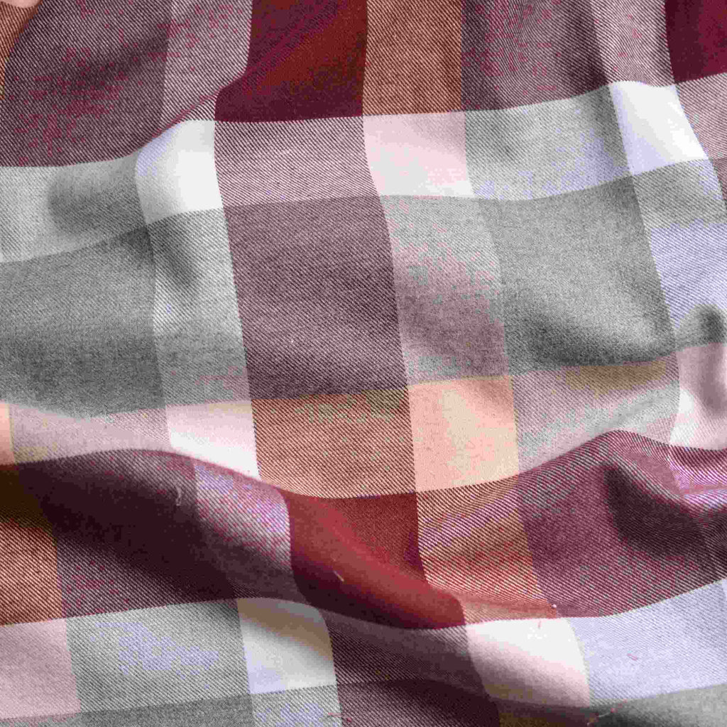 Dusty Maroon Box Plaid Flannel – 1/2 yard
