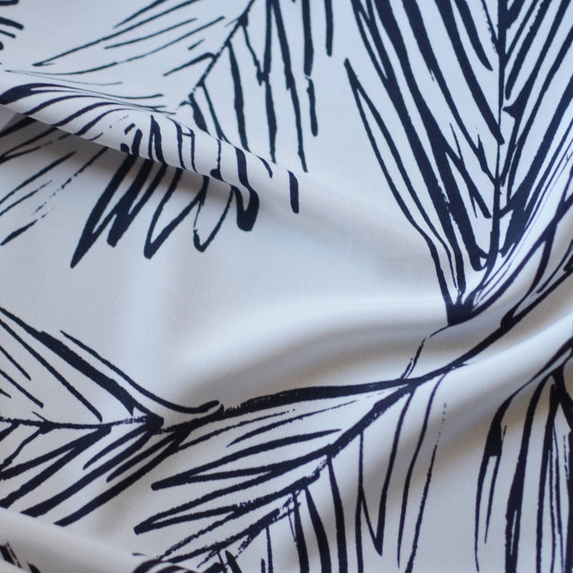 Navy – Sketched Leaves Crepe De Chine – 1/2 yard