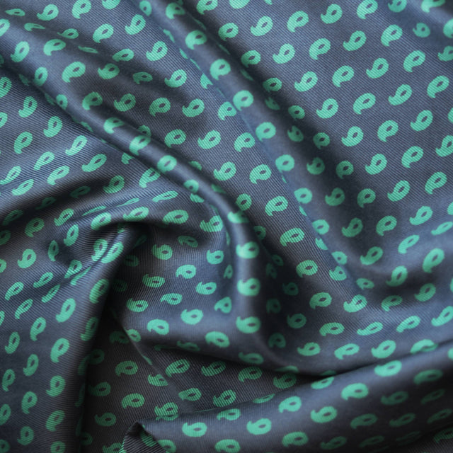 Remnant -  Comma Print Silk Twill – 3/4 yard