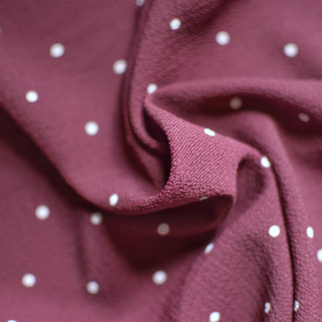 Maroon Polka Dot Pebble Crepe – 1/2 yard
