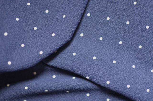 Navy Polka Dot Pebble Crepe – 1/2 yard