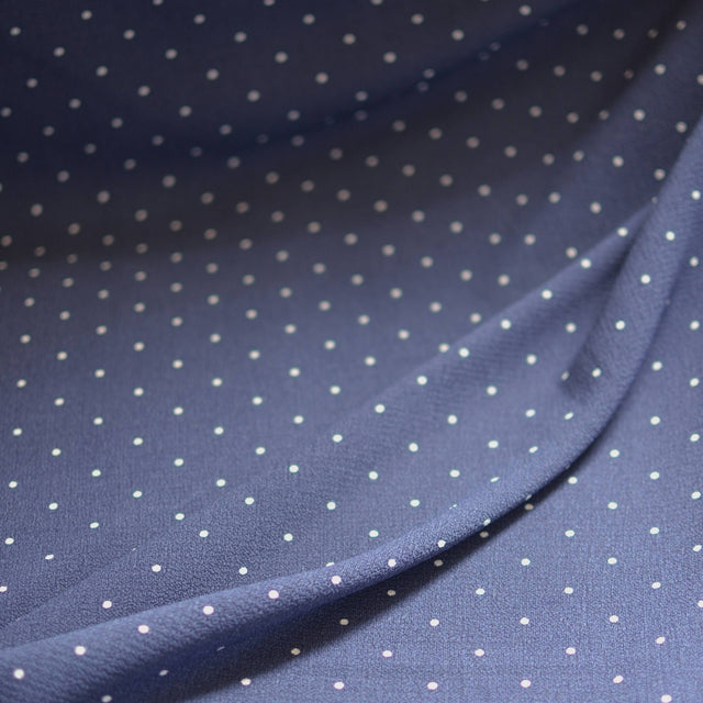 Remnant -  Navy Polka Dot Pebble Crepe – 1.25 yards