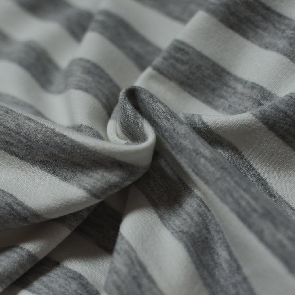 White & Heather Grey – Striped USA-made French Terry – 1/2 yard
