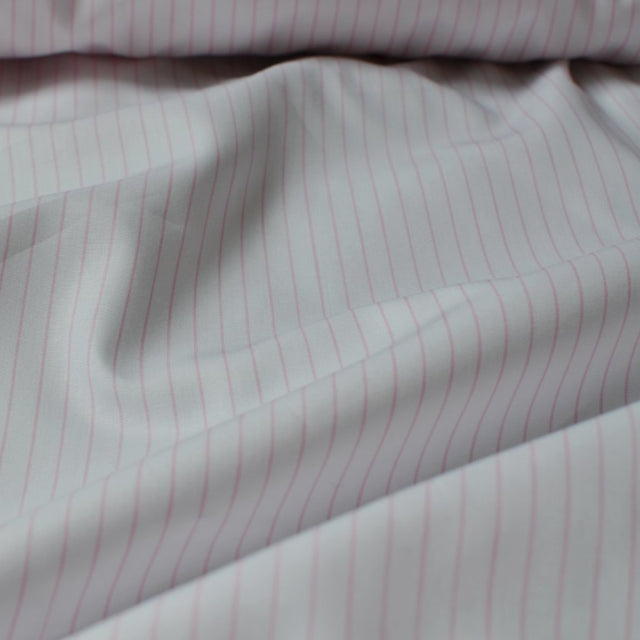 Pink & White – Striped Italian Cotton Shirting – 1/2 yard
