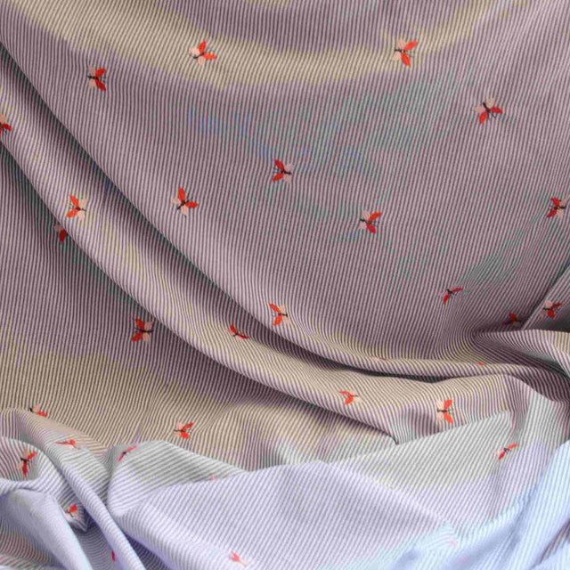 Embroidered Butterfly Cotton Shirting – 1/2 yard