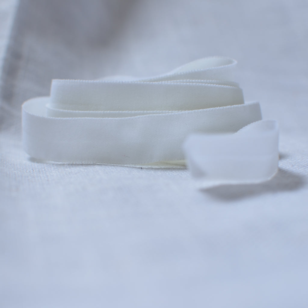"White – 1/2"" Fold Over Elastic (FOE) – 1 yard"