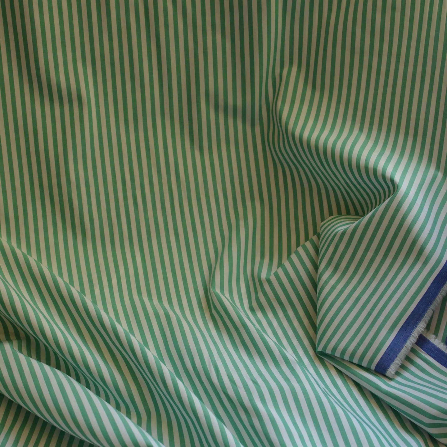 White & Green Striped Shirting – 1/2 yard