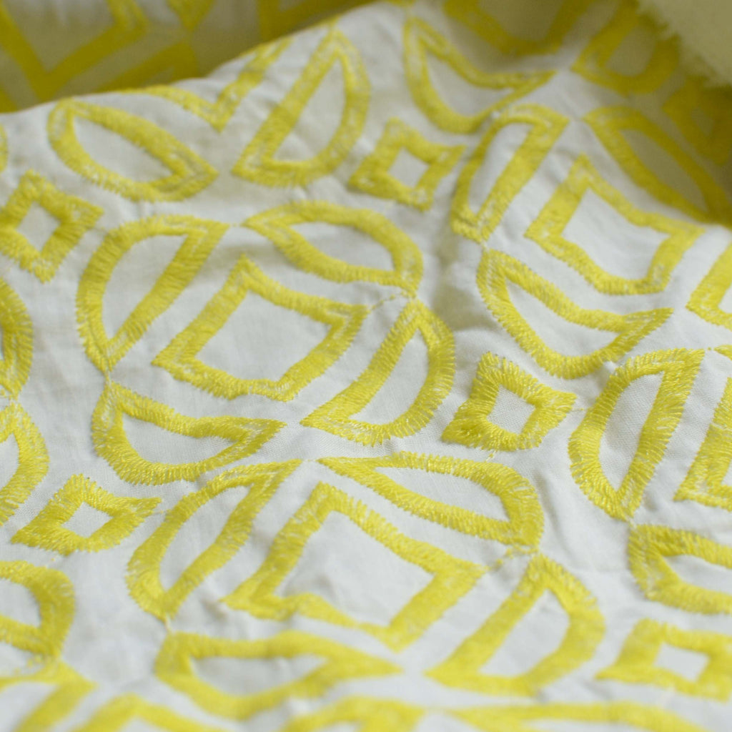 Neon Yellow Embroidered Cotton – 1/2 yard