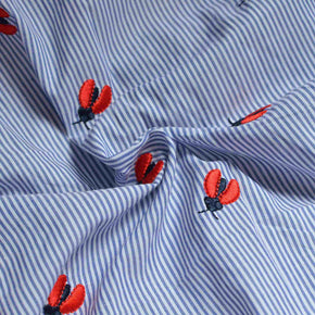 Embroidered Ladybug Cotton Shirting – 1/2 yard