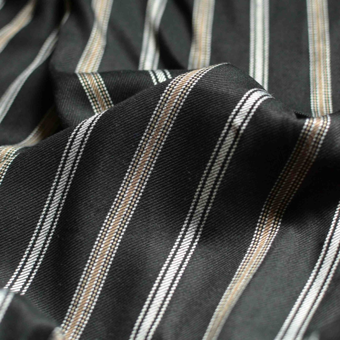 Black, Taupe & Silver Striped Viscose Twill - 1/2 yard