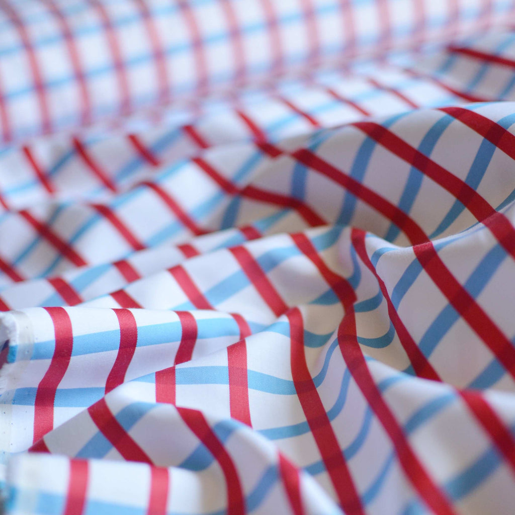 Italian Windowpane Plaid Sateen Shirting – 1/2 yard