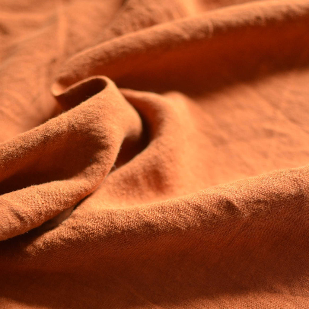 Burnt Caramel – Structured Lightweight Washed Linen – 1/2 yard