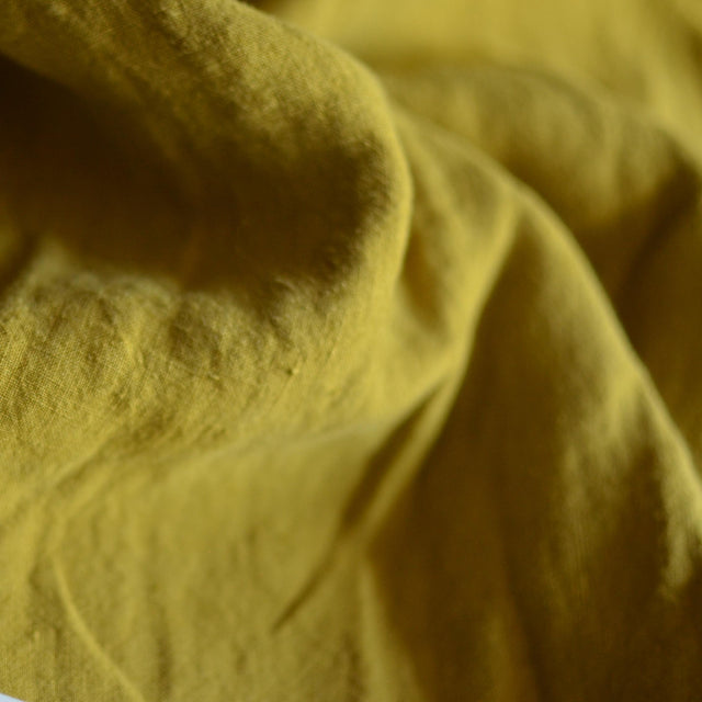 Ochre – Structured Lightweight Washed Linen – 1/2 yard