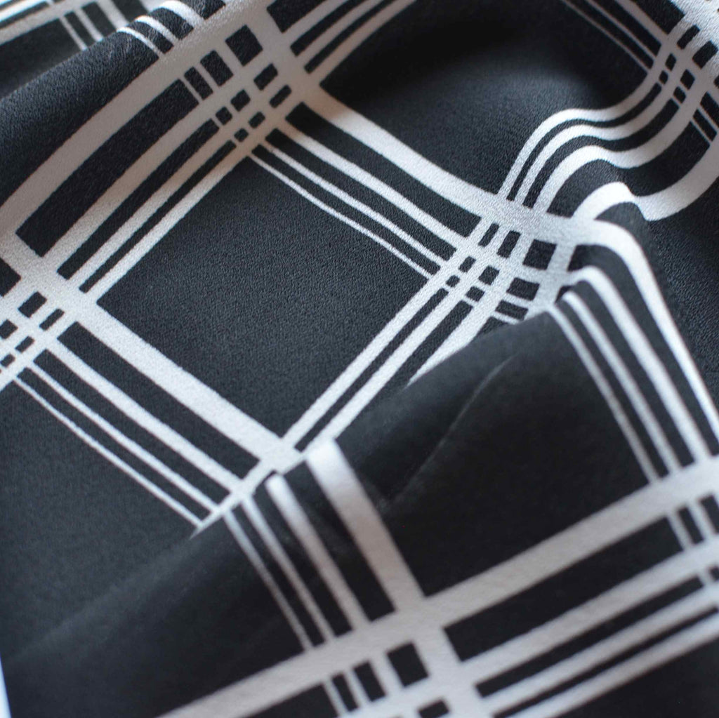 Black and White Grid Plaid Crepe Georgette – 1/2 yard