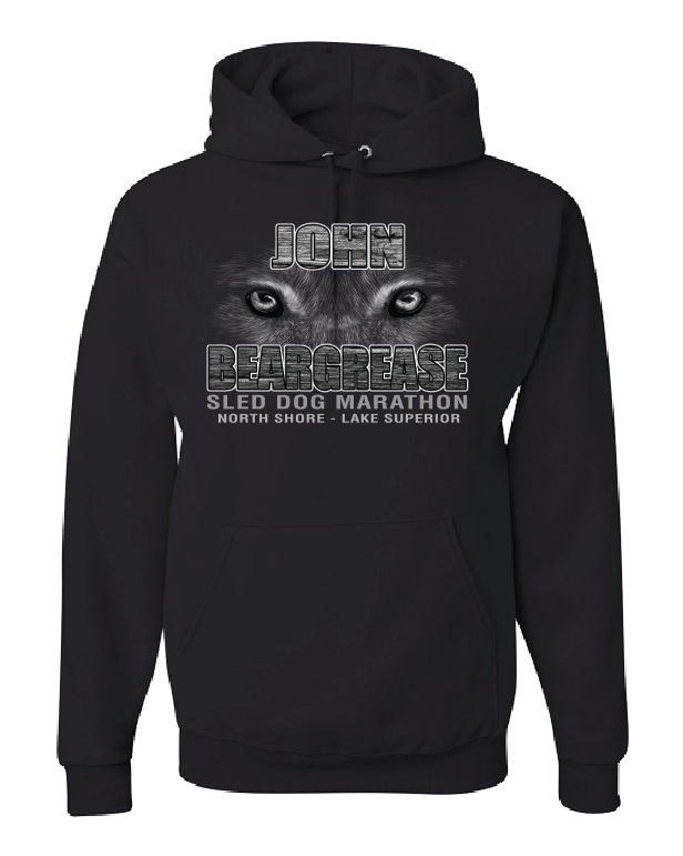White Only Husky Eyes Black Hooded Sweatshirt - beargrease