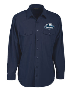 Beargrease Embroidered Logo Navy Button Down - beargrease