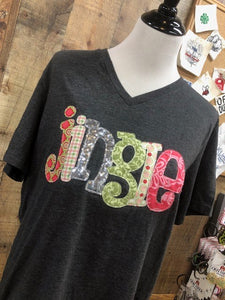 Kid's Christmas Words Appliqued T-Shirt