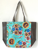 Oil Cloth Market Tote with Textured Leather